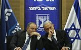 Prime Minister Benjamin Netanyahu (R) with then-Foreign Minister Avigdor Liberman at a meeting in the Knesset, on November 25, 2013. (photo credit: Yonatan Sindel/Flash90)