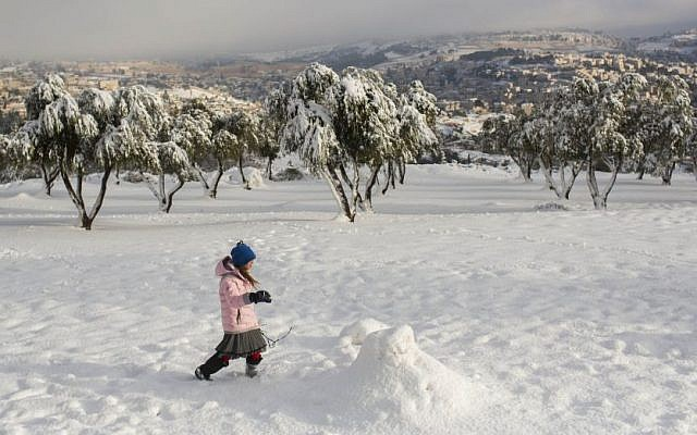 A girl plays in the snow at the Armon Hanatziv promenade on a snowy winter's day, Saturday, December 14, 2013. (photo credit: Yonatan Sindel/Flash90)