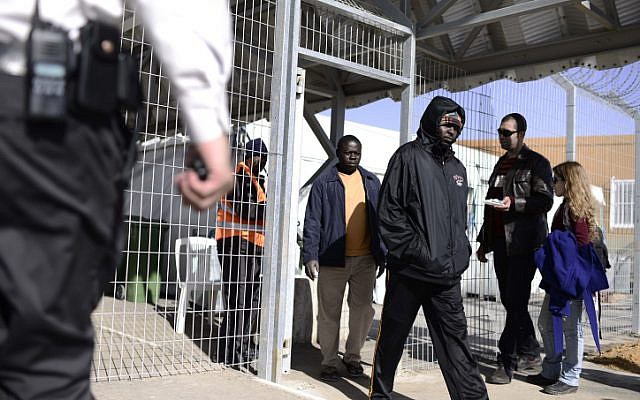 African asylum seekers leave the Holot detention center in southern Israel on December 21, 2013 (photo credit: Tomer Neuberg/Flash90)