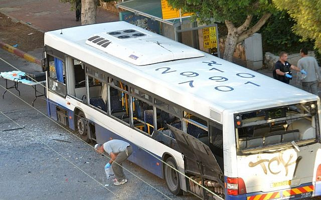 The bus in Bat Yam after a bomb on board exploded Sunday. (photo credit: Yossi Zeliger/Flash90)