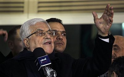 Palestinian Authority President, Mahmoud Abbas  speaks during the welcome reception for prisoners at the Muqataa presidential ground in Ramallah, in the early hours of Tuesday, December 31, 2013.  (photo credit: Hadas Parush/Flash90)
