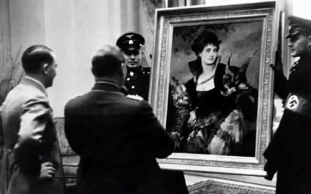 File: Hitler assesses looted art (photo credit: YouTube screenshot)