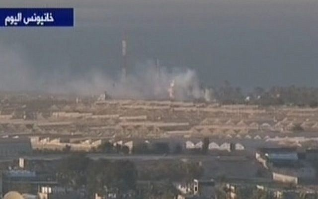 Smoke billows after an IDF strike in the Gaza Strip, December 2013. (photo credit: screen capture/ Channel 2)