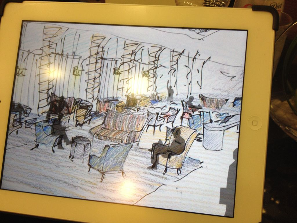 A look at Schwartz' plans for the lobby, as seen on his iPad (photo credit: Jessica Steinberg/Times of Israel)