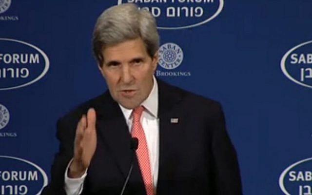 US Secretary of State John Kerry speaks at the Saban Forum in Washington, Saturday December 7, 2013. Kerry was the keynote speaker. (Screenshot)