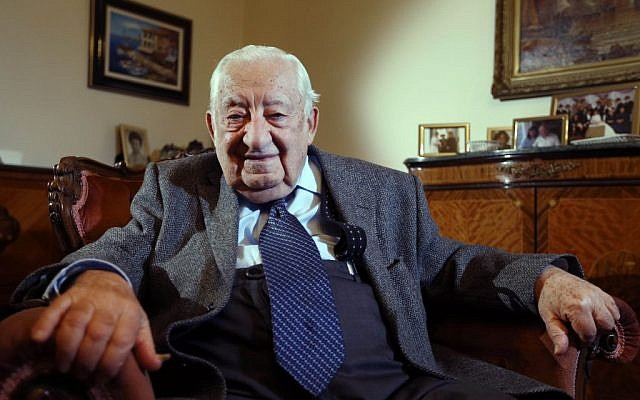 Oscar Findling, 91, who was brought to England by Kindertransport from Germany to escape Nazi persecution, sits at his home in London. (photo credit: AP Photo/Kirsty Wigglesworth)