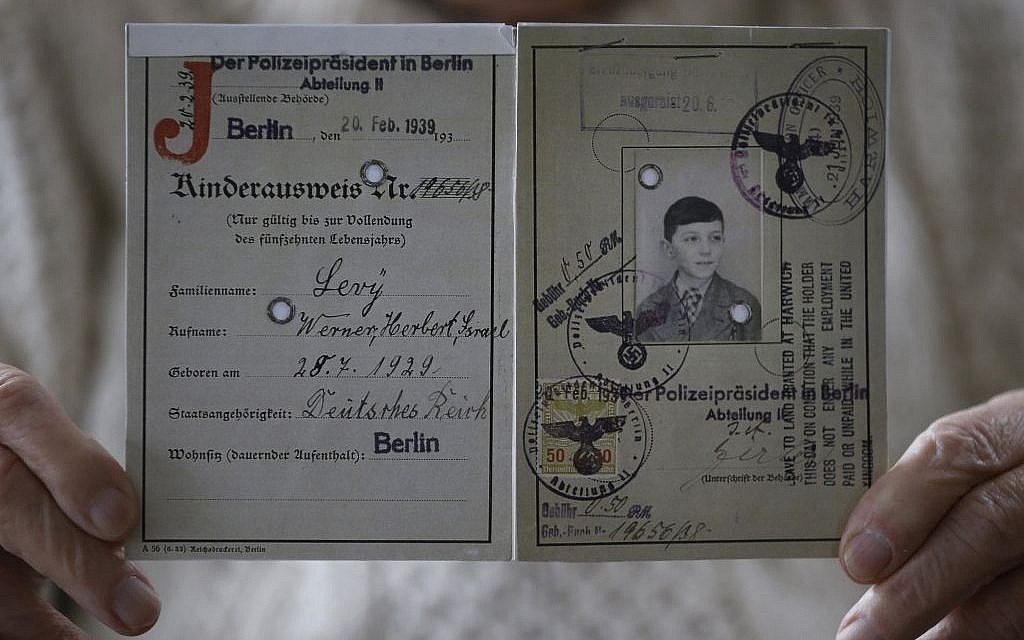 The identity card of Herbert Levy, who was brought to England by Kindertransport from Berlin in Germany in 1939 to escape Nazi persecution, at his home in London, Thursday, Nov. 21, 2013. (Photo credit: AP Photo/Kirsty Wigglesworth)