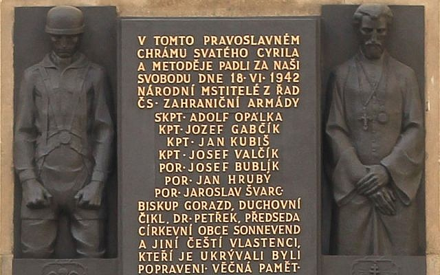 The memorial to Heydrich's assassins at the Church of Saints Cyril and Methodius (photo credit: Blanicky/Wikipedia Commons)