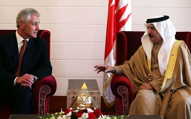 US Secretary of Defense Chuck Hagel, left, meets with King Hamad bin Isa Al Khalifa of Bahrain on Friday at the Safriya Palace, Sadad, Bahrain, southwest of the capital of Manama. Secretary Hagel is visiting Bahrain during a six-day tour to the middle east. (AP Photo/Mark Wilson)