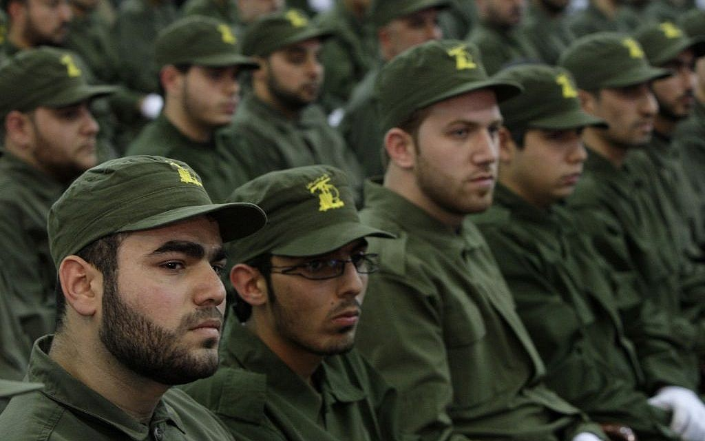 Hezbollah fighters attending a rally in Beirut, Lebanon, November 2011. (photo credit: AP/Bilal Hussein)