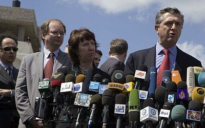 Top EU officials dealing with Israelis and Palestinians. From left to right: Hugues Mingarelli, Christian Berger,  Catherine Ashton and Filippo Grandi (photo credit: European Union)