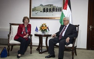 EU foreign policy chief Catherine Ashton and PA President Mahmoud Abbas in Ramallah, June 2013 (photo credit: European Union)