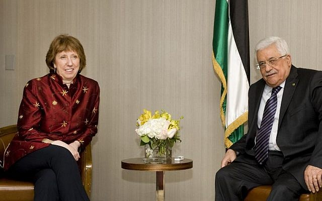 Catherine Ashton, High EU representative for foreign affairs, meets PA President Mahmoud Abbas in New York, September 2013 (photo credit: European Union)