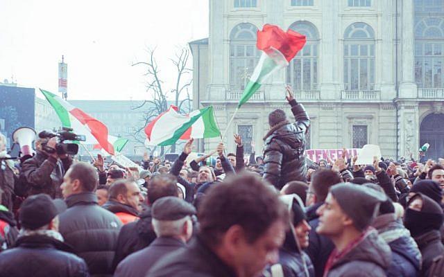 The Movimento dei Forconi (Pitchforks Movement). protests in Piazza Castello, in Torino, Italy, December 9, 2013. (Photo credit: CC BY-SA 2.0, Mirko Isaia/Wikimedia)