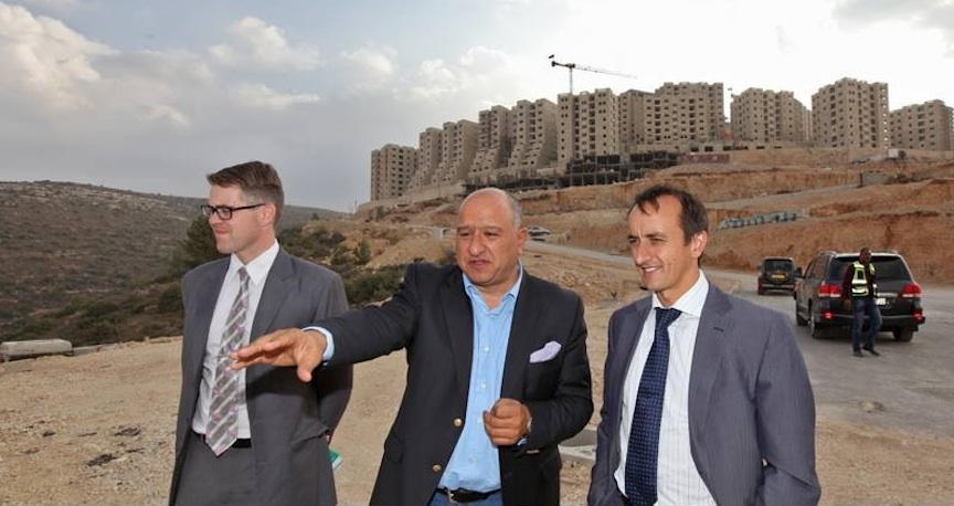 Australian Ambassador to Israel Dave Sharma (R) and Australia's representative in Ramallah Tom Wilson (L.) on a tour of Ramallah with local official Amir Dajani (Photo: Courtesy)