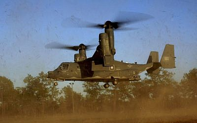 Illustrative: A CV-22 Osprey aircraft of the 8th Special Operations Squadron (SOS) at Hurlburt Field, Florida, January 26, 2011. (AP/US Air Force, Master Sgt. Jeremy T. Lock)