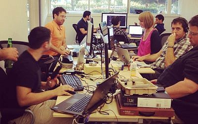 Israeli start-up entrepreneurs at work at UpWest Lab's Silicon Valley facility (Photo credit: Courtesy)
