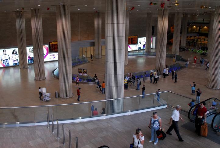 A general view of the arrival hall of Terminal 3 Ben Gurion International Airport, September 14, 2006. (photo credit: Gili Yaari/Flash90)