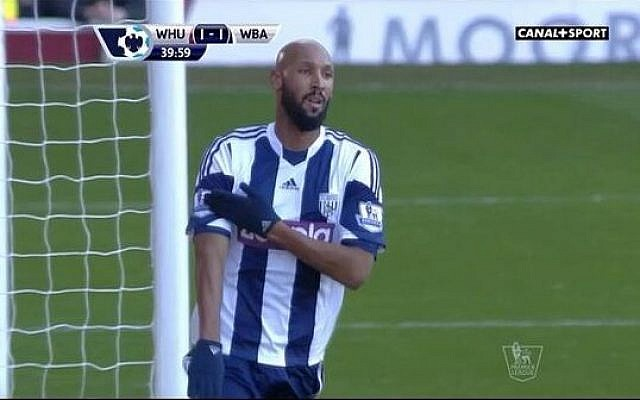 Nicolas Anelka makes the 'quenelle' gesture on December 28 (photo credit: screenshot)