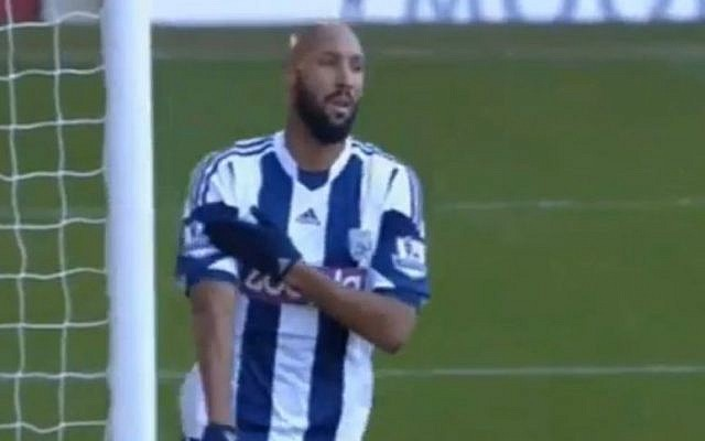 Nicolas Anelka makes the quenelle gesture after his goal for West Bromwich Albion against West Ham United, December 28, 2013  (photo credit: YouTube screenshot)