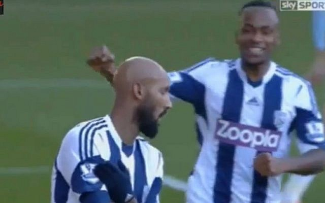 A teammate rushes to congratulate Nicolas Anelka after his goal for West Bromwich Albion against West Ham United, December 28, 2013  (photo credit: YouTube screenshot)