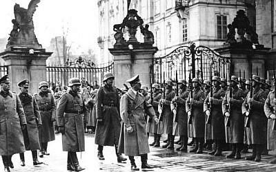 Adolf Hitler at Prague Castle, March 16, 1939 (photo credit: Bundesarchiv/ Wikipedia)
