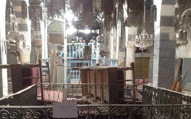 Detail from a photograph of the Jobar Synagogue in  Damascus, circa 2013. (Moti Kahana)