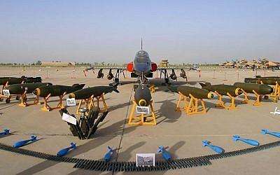 A display of the Iranian Air Force's homemade fighter jet Azarakhsh ('Lightning') at an annual exhibition in 2009. (Photo credit: CC, BY-SA, Shahram Sharifi/Wikimedia)