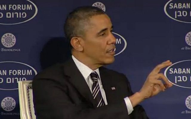 President Barack Obama speaks at the Saban Forum in Washington, Saturday December 7, 2013. (Screenshot)