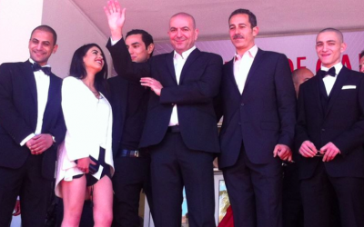 The 'Omar' cast at Cannes, with Abu-Assad in the center (photo credit: Courtesy 'Omar' by Hany Abu-Assad Facebook page)