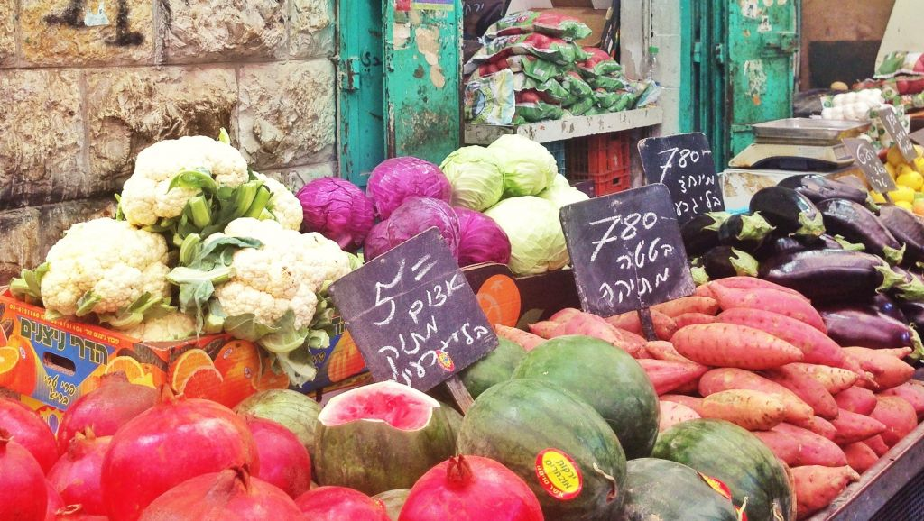Fruits and veggies in the market.