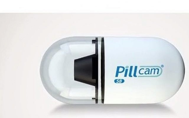 The Pillcam, a swallowable camera to diagnose problems in the digestive tract, developed by Israeli company Given Imaging (screen capture: YouTube)