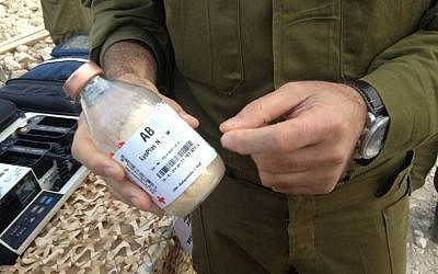 A unit of freeze-dried plasma, which is administered in the field (Photo credit: Mitch Ginsburg/ Times of Israel)