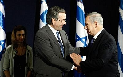 Greek Prime Minister Antonis Samaras (L) with PM Netanyahu in Jerusalem, October 08, 2013. (photo credit: Flash90)