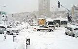 Stranded vehicles at the entrance to Jerusalem December 13, 2013. (Israel Hatzolah)