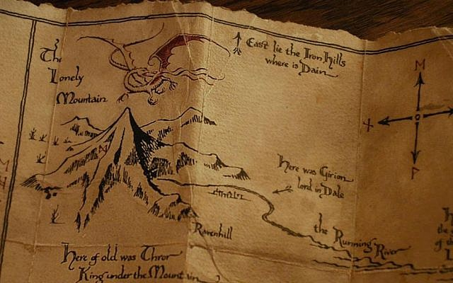 A map of the dwarves' ancient homeland, showing the Lonely Mountain (photo courtesy: Warner Bros.)