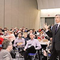 Rabbi Rick Jacobs, the president of the Union for Reform Judaism, taking questions from rabbis at a session for clergy at the Reform biennial in San Diego, Dec. 13, 2013. (photo credit: URJ via JTA)
