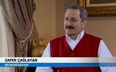 Turkey's Economy Minister Zafer Caglayan, February 2012. (screen capture: Youtube/NZL Produksiyon)