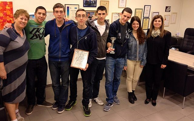 Tovy Stupp (L) with members of the winning Gvahim cyber-defense contest team (Photo credit: Courtesy)
