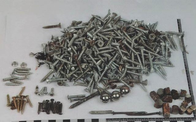 The screws and nails, much like in Boston, were added to increase the killing and maiming range of the explosive (Photo credit: courtesy: Shin Bet)
