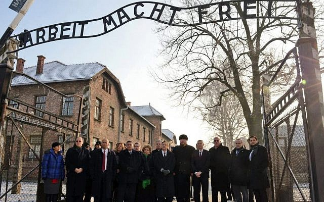 Delegates at the entrance to Aushwitz, January 27, 2014. (photo credit: Haim Zach/GPO)