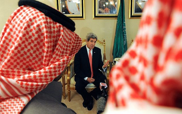 John Kerry meeting in Saudi Arabia, Sunday, January 5 2014. (photo credit: US State Department)