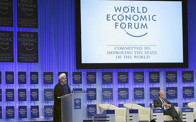 Hassan Rouhani speaking at Davos Thursday. (photo credit: World Economic Forum)