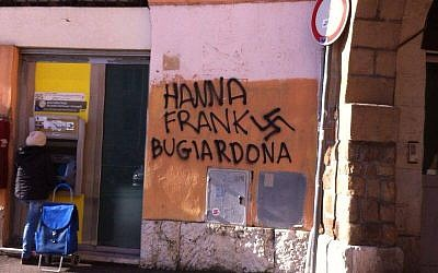 Anti-Semitic graffiti in Rome's District III on Saturday, January 25, 2014. (photo credit: Yuri Bugli, Facebook)