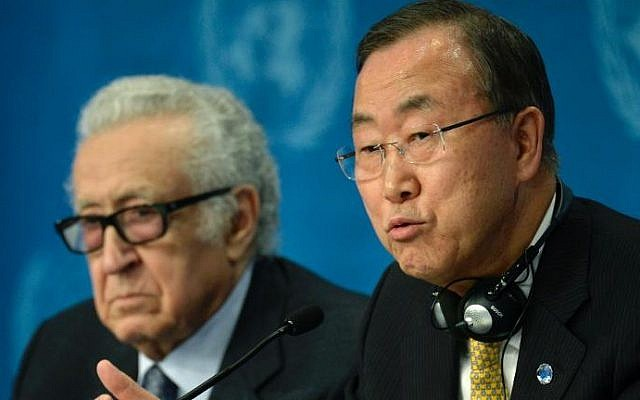 UN Secretary-General Ban Ki-moon, right, and UN-Arab League envoy Lakhdar Brahimi attend a press conference at the Geneva II conference in Montreux, Switzerland, on Wednesday (photo credit: Philippe Desmazes/AFP)