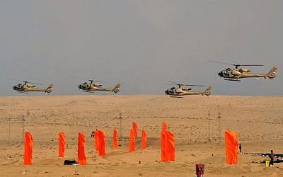 Egyptian military helicopters fly over the eastern Sinai Peninsula, October 18, 2012. (photo credit: Egyptian Presidency/AFP)