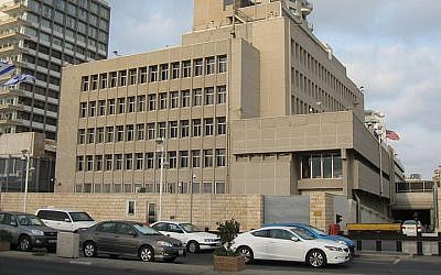 The US Embassy in Tel Aviv (photo credit: Ori~/Wikimedia Commons/File)