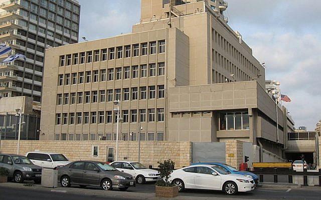 The US Embassy in Tel Aviv (photo credit: Ori~/Wikimedia Commons/File)