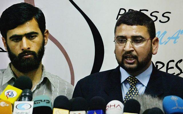 Hamas officials Sami Abu Zuhri (right) and Mushir Al-Masri in Gaza (photo credit: AP/Hatem Moussa)
