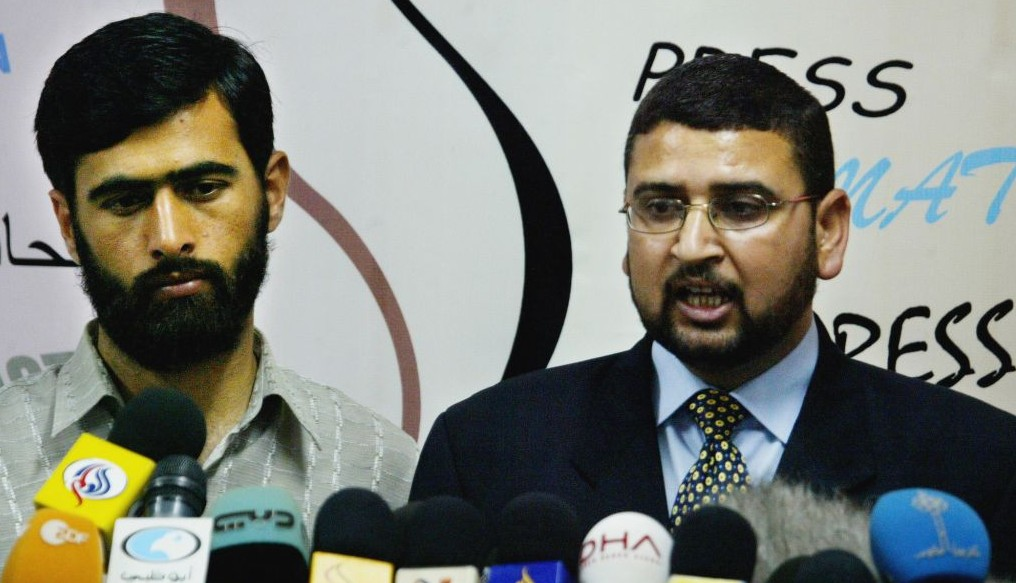 Hamas officials Sami Abu Zuhri (right) and Mushir Al-Masri in Gaza (photo credit: AP/Hatem Moussa)